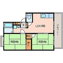 ハイツラスカンパナス[2階]の間取り