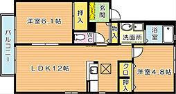 福岡県北九州市八幡西区大平1丁目の賃貸アパートの間取り