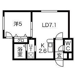 北海道札幌市東区北十五条東13丁目の賃貸マンションの間取り