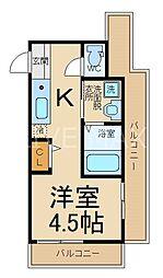 サンフェリシアン東福寺 1階1Kの間取り