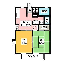 コーポワセイII[2階]の間取り