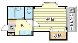 兵庫県姫路市飾磨区中島3丁目の賃貸マンションの間取り