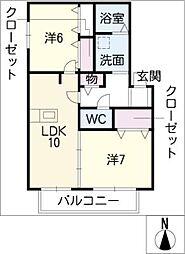 パークヒル高蔵寺B棟[1階]の間取り