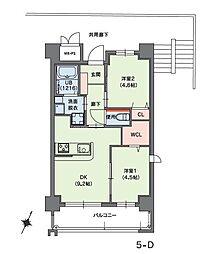 クラシオン小笹山手5番館 5階2DKの間取り