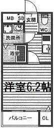 阪神本線 野田駅 徒歩3分の賃貸アパート 1階1Kの間取り