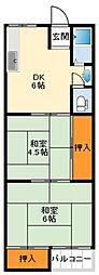 日興マンション 2階2DKの間取り