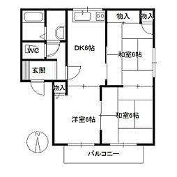 広島県廿日市市佐方の賃貸アパートの間取り