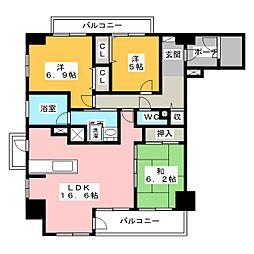 ローレルコート西丸之内401[4階]の間取り