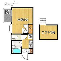 千葉県松戸市常盤平3丁目の賃貸アパートの間取り