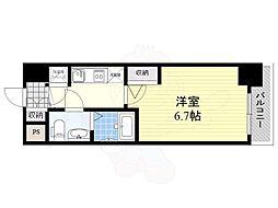 アドバンス新大阪ラシュレ 4階1Kの間取り