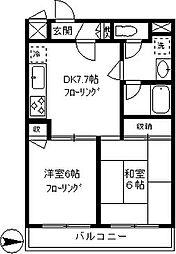 モナークマンション柿の木坂[503号室]の間取り