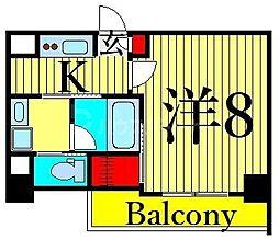 JR山手線 日暮里駅 徒歩11分の賃貸マンション 8階1Kの間取り