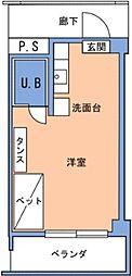 バス 第一中山下車 徒歩7分の賃貸アパート 1階ワンルームの間取り
