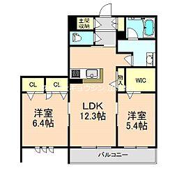 (仮称)豊中市シャーメゾン熊野町3丁目 3階2LDKの間取り