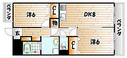 福岡県北九州市小倉南区下曽根3丁目の賃貸マンションの間取り