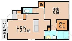 JR鹿児島本線 大野城駅 徒歩35分の賃貸アパート 1階1LDKの間取り