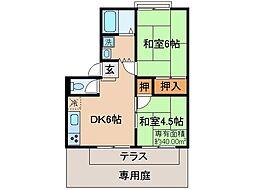 京都府京都市伏見区桃山紅雪町の賃貸アパートの間取り