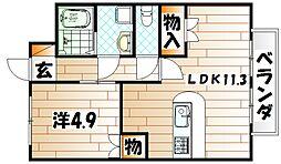 ローズガーデンII[2階]の間取り