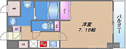 JPレジデンス大阪城東III 4階1Kの間取り
