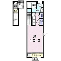 岡山電気軌道清輝橋線 清輝橋駅 徒歩7分の賃貸アパート 2階1Kの間取り