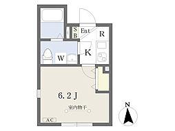東京メトロ南北線 王子駅 徒歩7分の賃貸マンション 3階1Kの間取り