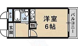 南海高野線 白鷺駅 徒歩2分の賃貸マンション 4階ワンルームの間取り