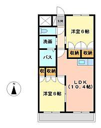 愛知県名古屋市中川区大当郎1丁目の賃貸アパートの間取り