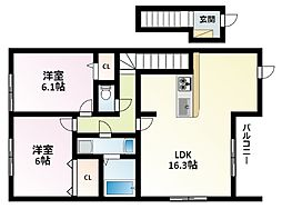 Osaka Metro御堂筋線 江坂駅 徒歩12分の賃貸アパート 1階2LDKの間取り