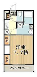 JR中央線 武蔵小金井駅 徒歩8分の賃貸アパート 1階1Kの間取り