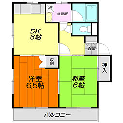 メゾン・ド・カルムA[2階]の間取り