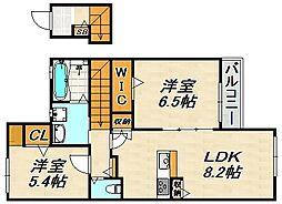 メゾンド・メルヴェーユ須磨 2階2LDKの間取り