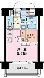 フィオーレ 9階ワンルームの間取り