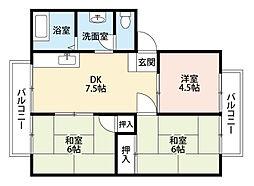 福岡県北九州市小倉南区葛原本町5丁目の賃貸アパートの間取り