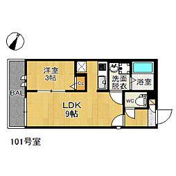 JR鹿児島本線 香椎駅 徒歩5分の賃貸アパート 1階1LDKの間取り