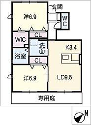 仮)JA賃貸港区十一屋二丁目B[1階]の間取り