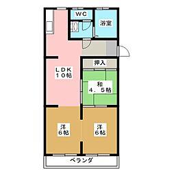 勢田パークマンション[3階]の間取り