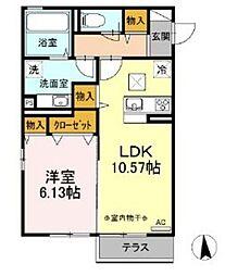 仮 D-room湘南台B棟 1階1LDKの間取り