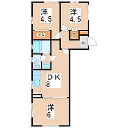 鹿児島県鹿児島市吉野町の賃貸アパートの間取り