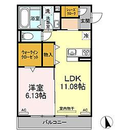 仮)D-room八帖北町 2階1DKの間取り