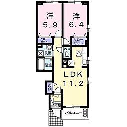 ロータス南島田D[105号室]の間取り