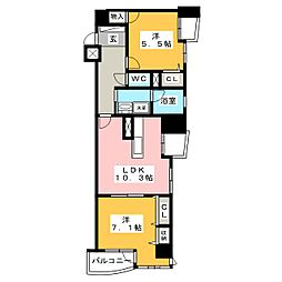 カーネギー鶴舞402号室[4階]の間取り