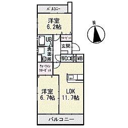アメニティ大樹寺参号館 3階[302号室]の間取り