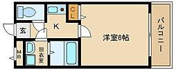 大阪府羽曳野市栄町の賃貸マンションの間取り