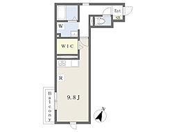 JR京浜東北・根岸線 大宮駅 徒歩10分の賃貸アパート 2階ワンルームの間取り