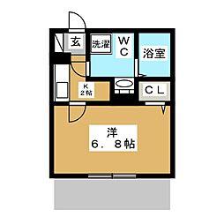カーザ平井 1階1Kの間取り