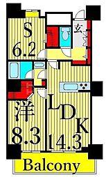 東京メトロ日比谷線 南千住駅 徒歩5分の賃貸マンション 33階1SLDKの間取り