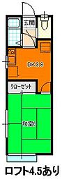 ソアール野崎 2階1Kの間取り