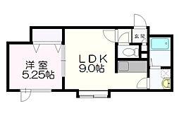 北海道札幌市清田区里塚一条2丁目の賃貸アパートの間取り