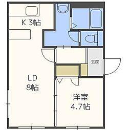 北海道札幌市北区北三十二条西11丁目の賃貸マンションの間取り
