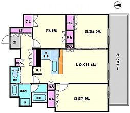 リーガル靱本町 14階3LDKの間取り